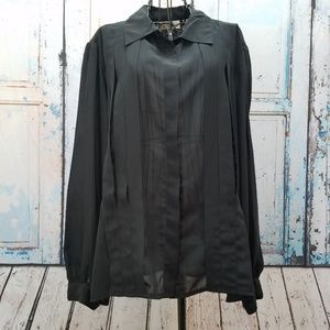 b34e31084eb jcpenney Tops - JC Penney La Blouse Sheer Black Top Plus Size 24W
